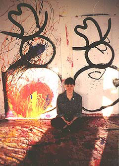 Grace Markman seated with her work. in Grace Markman