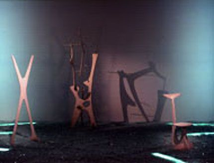 Robert Wilson's installation of Noguchi's stage set elements from Herodiade (1944) choreographed by Martha Graham in Isamu Noguchi: Sculptural Design