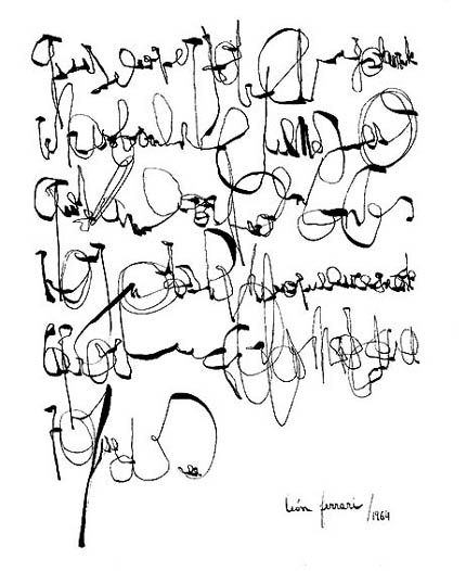 Escritura deformada 1, 1964  Ink on paper, 8 1/2 x 12 3/16 in. in Leon Ferrari: Politiscripts