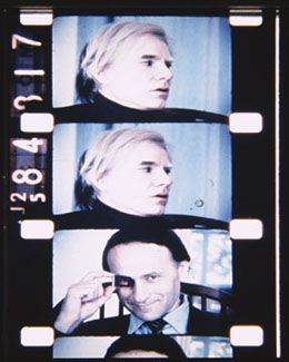 Andy Warhol, myself, c. 1974.  From SCENES FROM THE LIFE OF ANDY WARHOL in Jonas Mekas: Fragments of Paradise