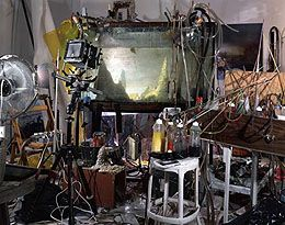 View of artist's studio set-up in Kim Keever