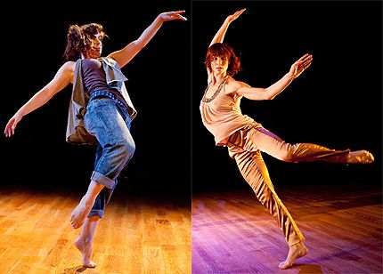 L: Becky Radway in her solo; R: Emily Pope-Blackman for WHITE WAVE dance company in Dumbo Dance 2011