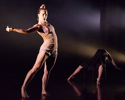 Elena Valls, with Nicole von Arx on chair in Without Walls in Dance Gallery Festival 2012