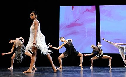 Architecture of Loss (L-R): Jaqlin Medlock, Davalois Fearon, Amanda Wells, Natalie Mackessy, Emily Stone (legs) in Petronio 2012