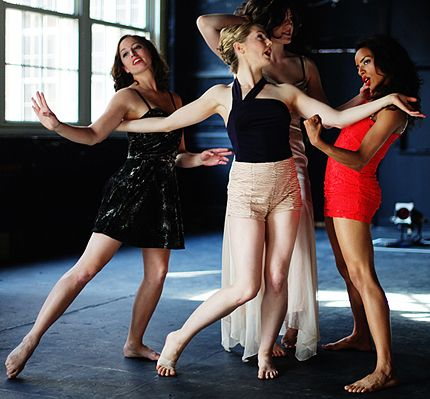 L-R: Liz Beres, Clare Cook, Joanna Futral, Tara Nicolas in ChristinaNoel and the Creature