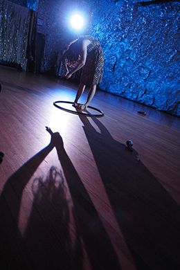Gabrielle Revlock and her shadow self in Dance Apocalypse: Solos