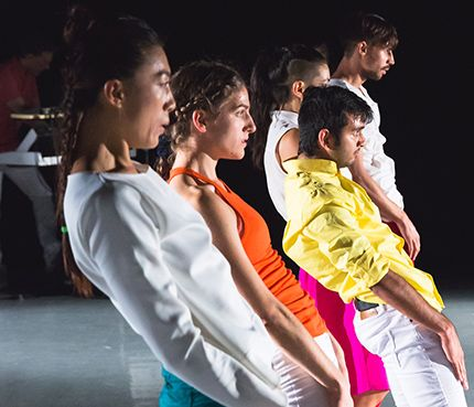 L-R: JinJu Song-Begin, Marija Obradovic, Maria Duarte (obscured), Rohan Bhargava, Doron Perk in DaOn Dance: Root