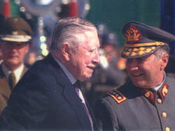 Augusto Pinochet is received warmly by the Chilean military upon his return from arrest in Europe. in The Pinochet Case