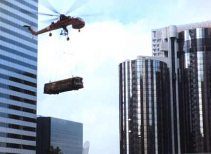 A bus hitches a ride during the filming of Swordfish. in Los Angeles Plays Itself