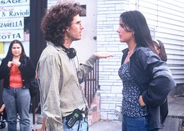 Joshua Marston directing Catalina Sandino Moreno on the set of Maria Full of Grace. Supporting actress Yenny Paola Vega is in the background. in Joshua Marston