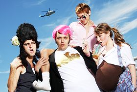 The cast of Perez Hilton Saves the Universe (or at least the greater Los Angeles area): The Musical. in Fringe Festival 2008